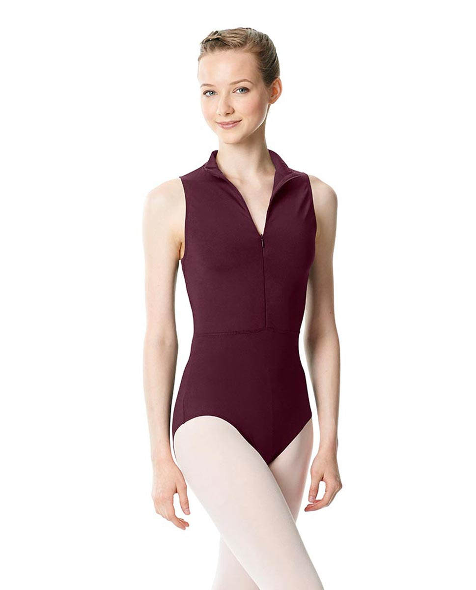 Womens Turtleneck Front Zipper Dance Leotard Leah WINE
