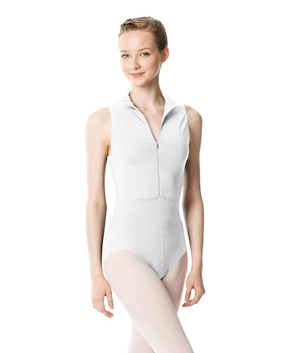 Womens Turtleneck Front Zipper Dance Leotard Leah WHI