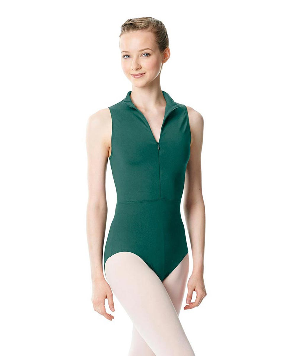 Womens Turtleneck Front Zipper Dance Leotard Leah TEA