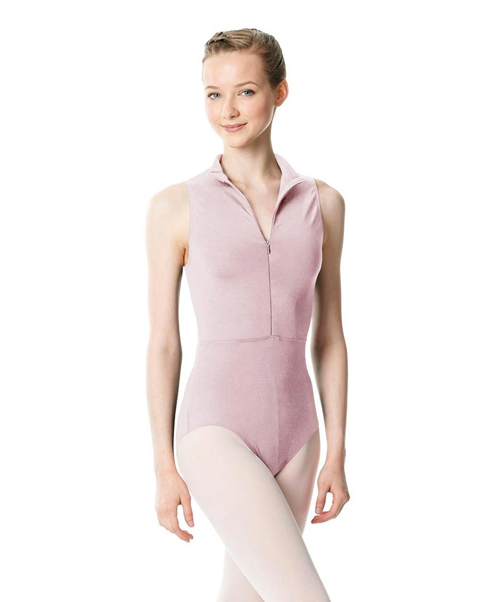 Womens Turtleneck Front Zipper Dance Leotard Leah PNK