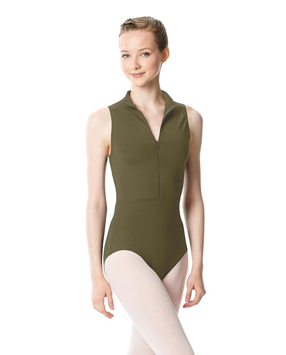 Womens Turtleneck Front Zipper Dance Leotard Leah KHA
