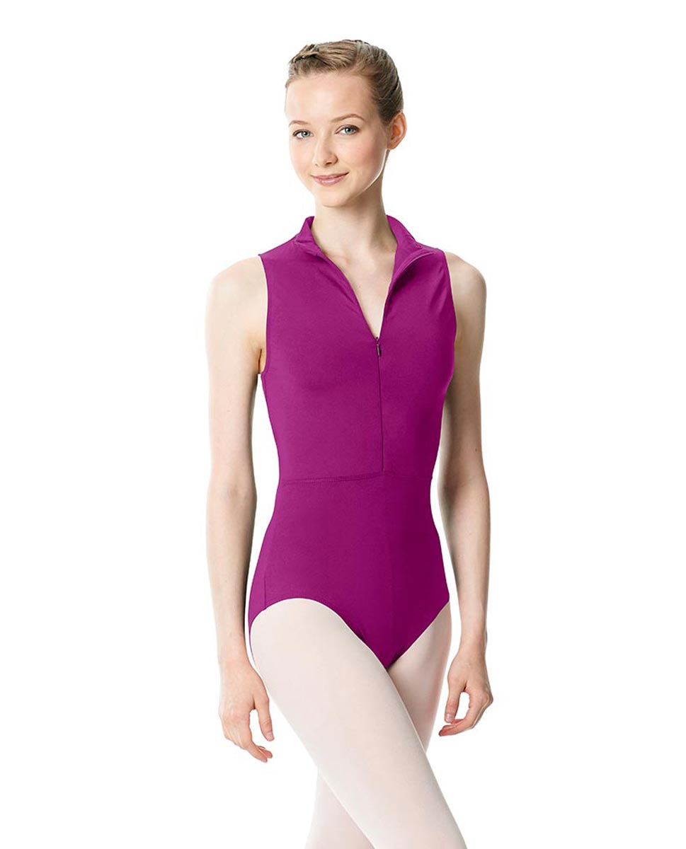 Womens Turtleneck Front Zipper Dance Leotard Leah GRAP
