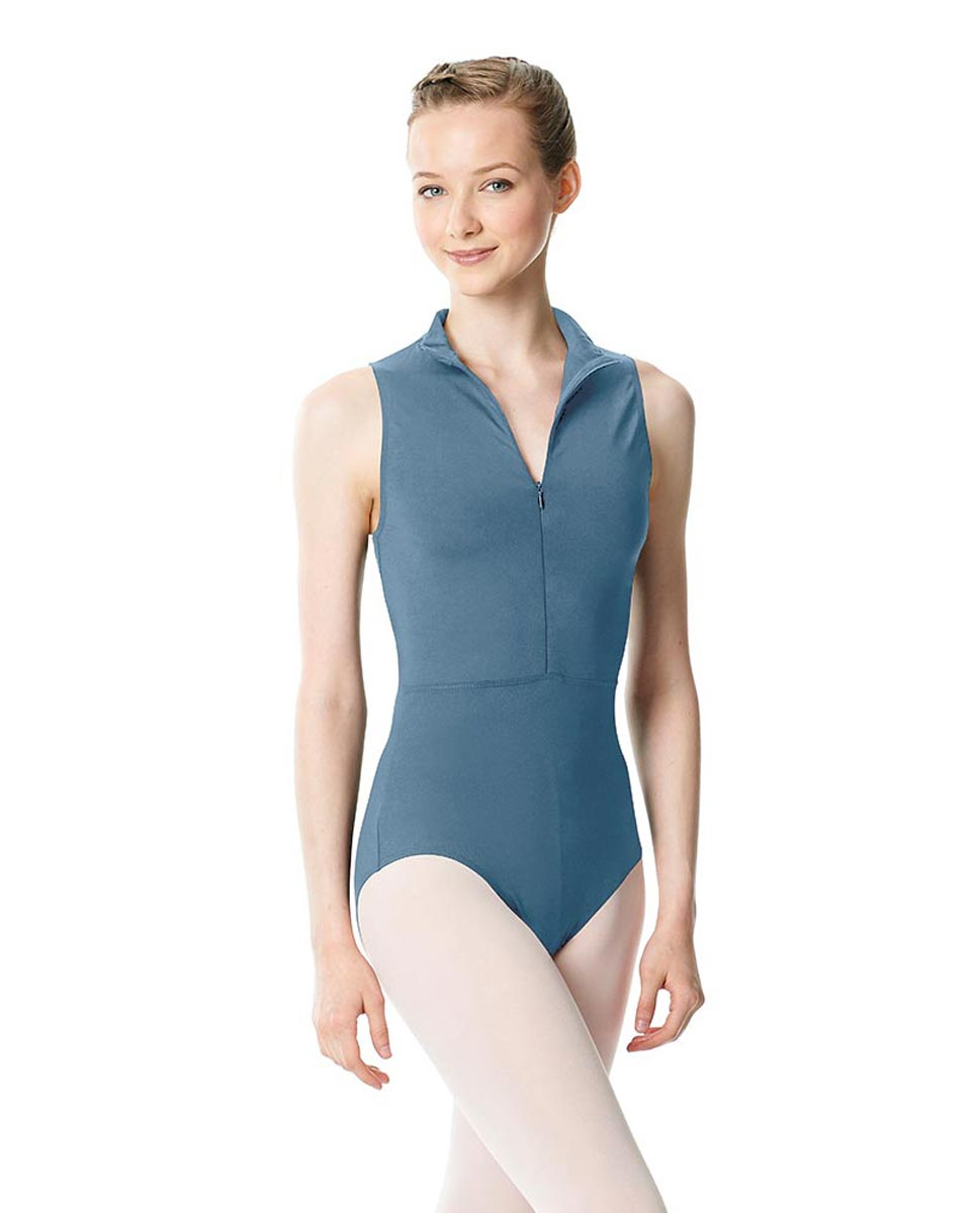 Womens Turtleneck Front Zipper Dance Leotard Leah BLUE