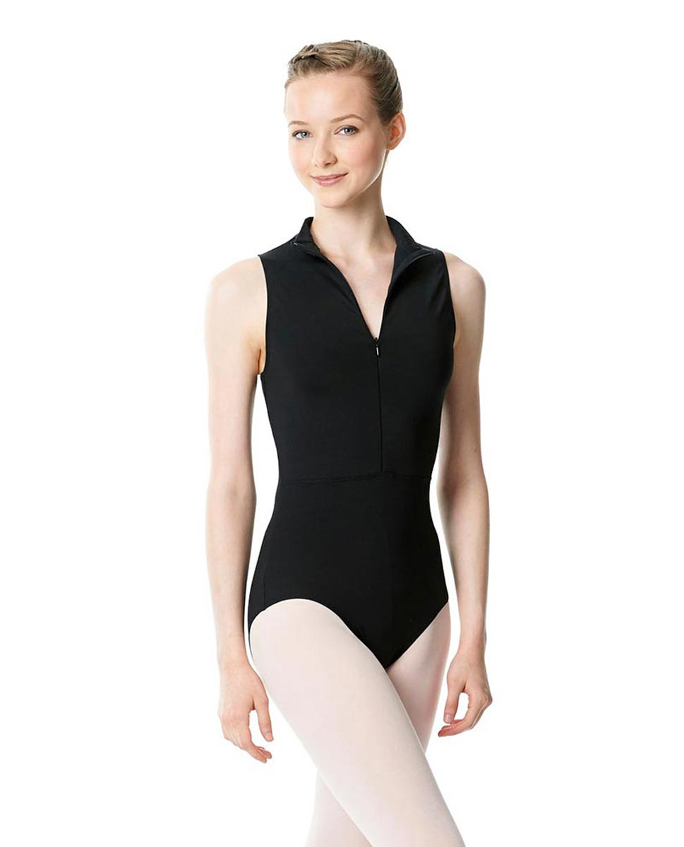Womens Turtleneck Front Zipper Dance Leotard Leah BLK