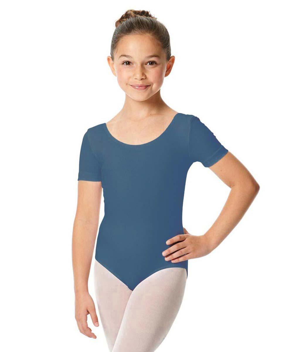 Child Short Sleeve Ballet Leotard Lauretta BLUE
