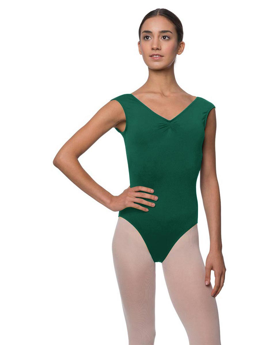 Womens Pinch Front Cap Sleeve Ballet Leotard Reyton DGREEN