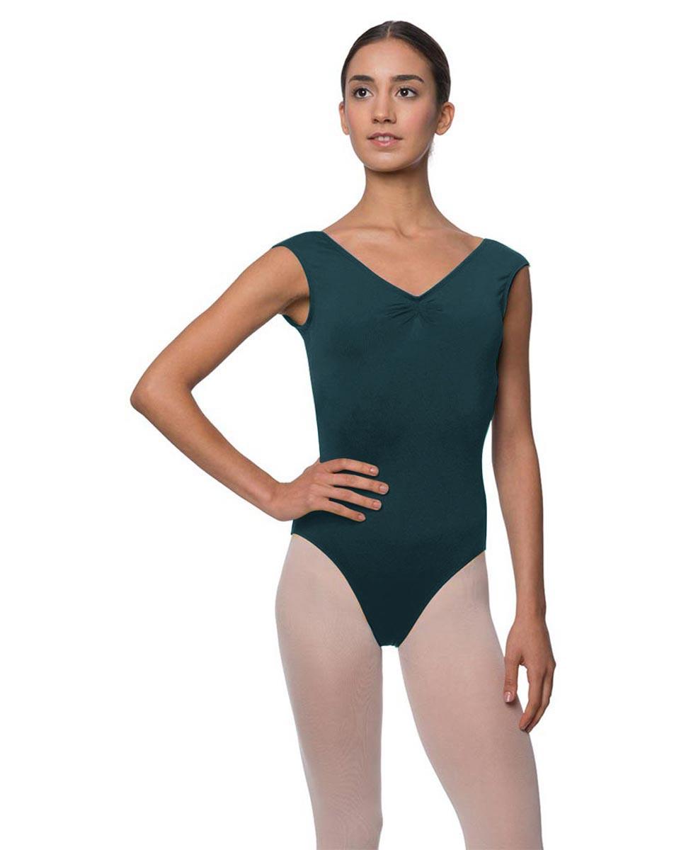 Womens Pinch Front Cap Sleeve Ballet Leotard Reyton DTEAL