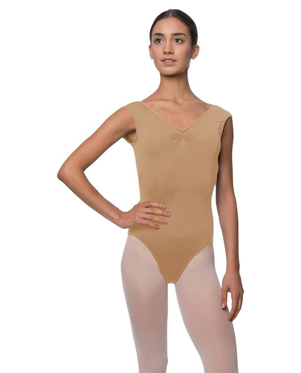 Womens Pinch Front Cap Sleeve Ballet Leotard Reyton NUD