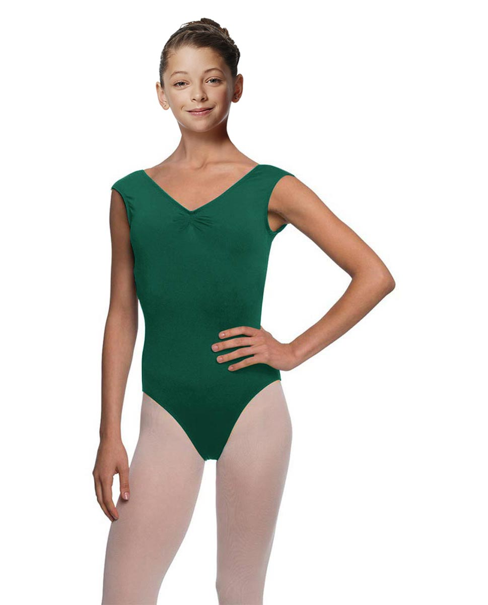Girls Cap Sleeve Ballet Leotard Reyton DGREEN