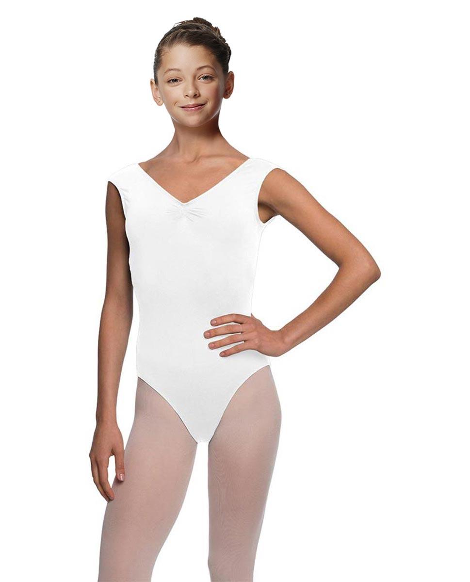 Girls Cap Sleeve Ballet Leotard Reyton WHI