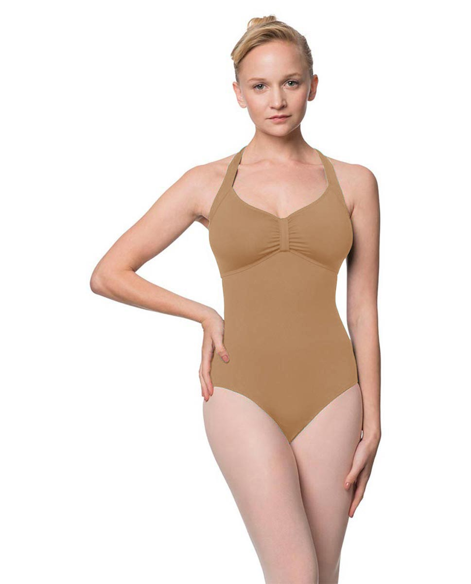 Adults Halter Open Back Dance Leotard Pearl NUD