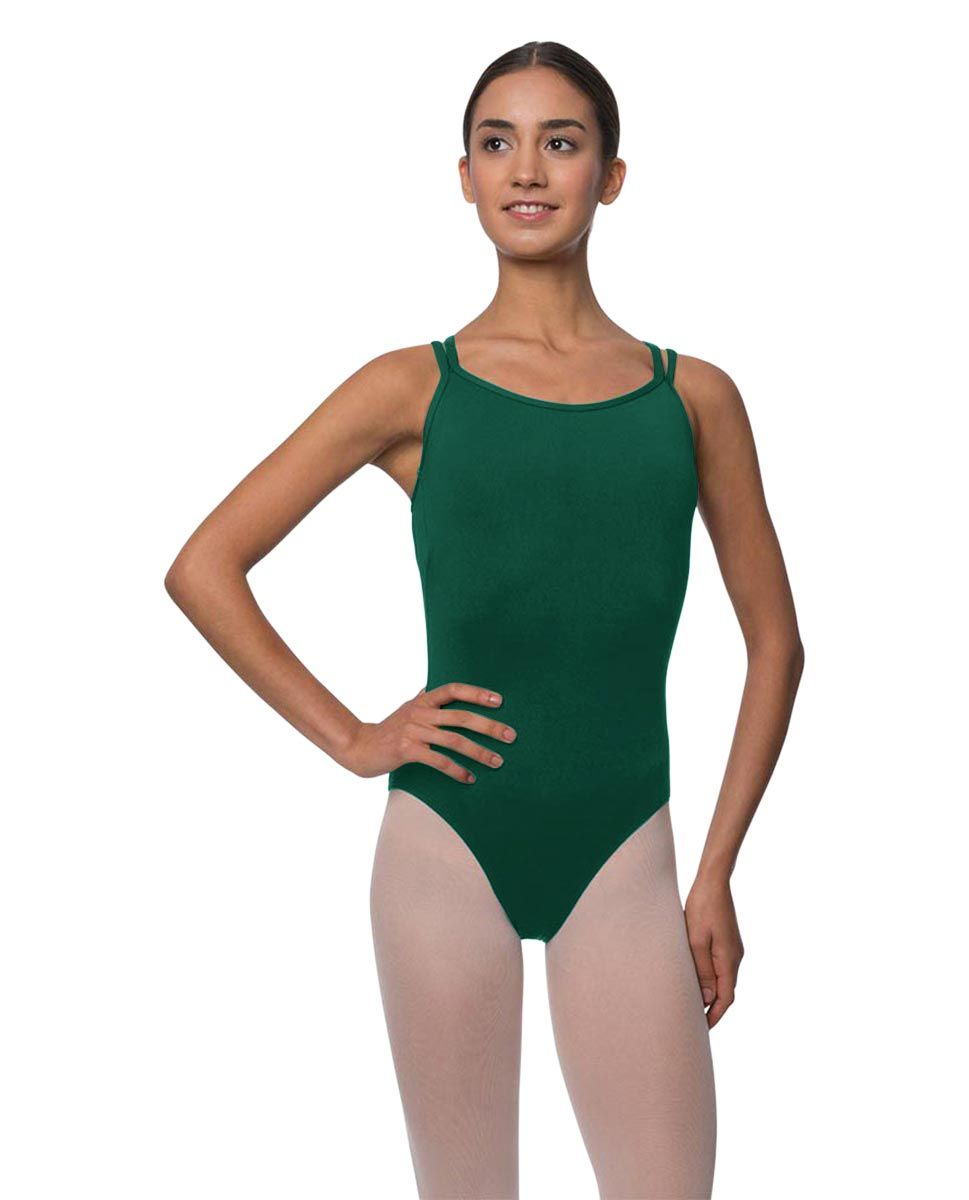 Womens Double Crossed Straps Camisole Dance Leotard Nina DGREEN