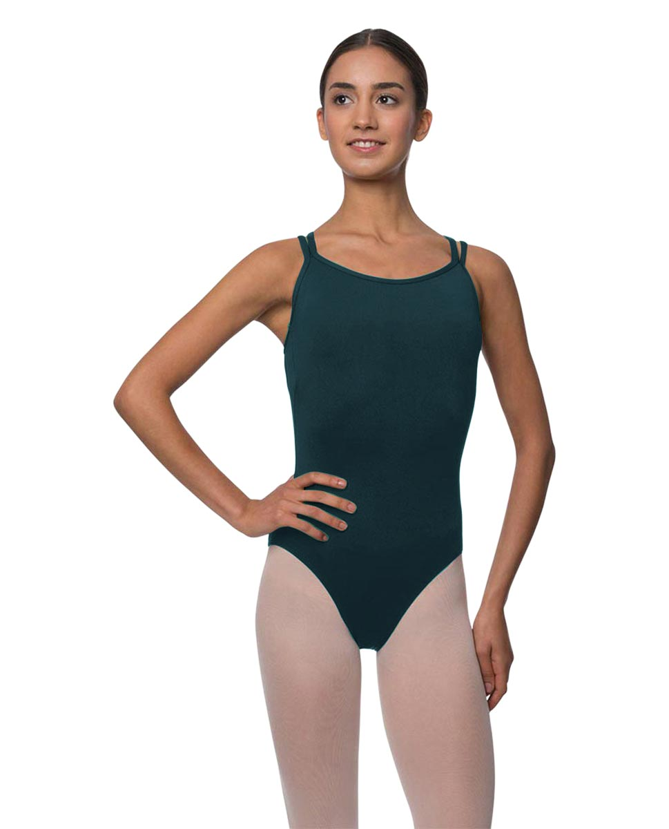Womens Double Crossed Straps Camisole Dance Leotard Nina DTEAL