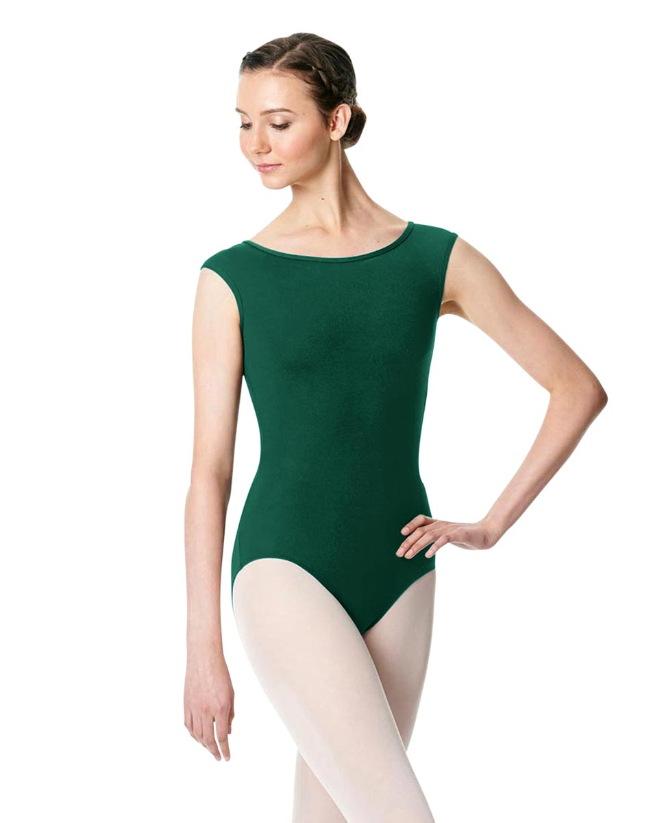Cap Sleeve Open Back Dance Leotard Farah DGREEN