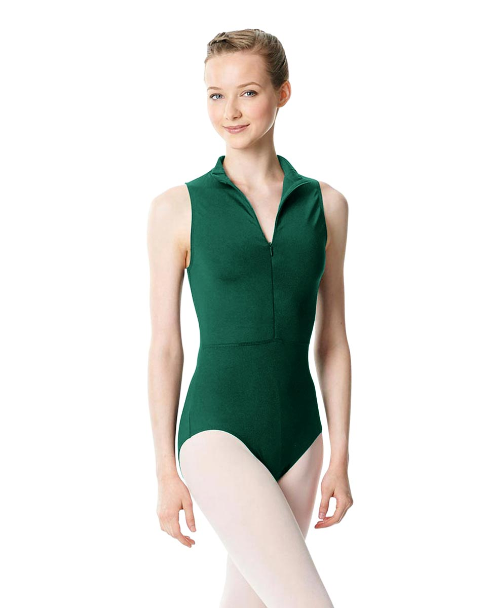Womens Turtleneck Front Zipper Dance Leotard Leah DGREEN