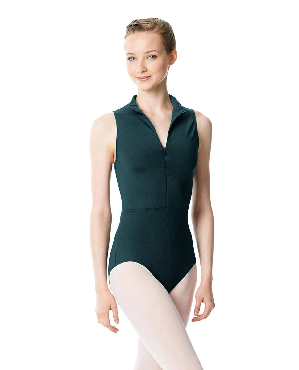Womens Turtleneck Front Zipper Dance Leotard Leah DTEAL