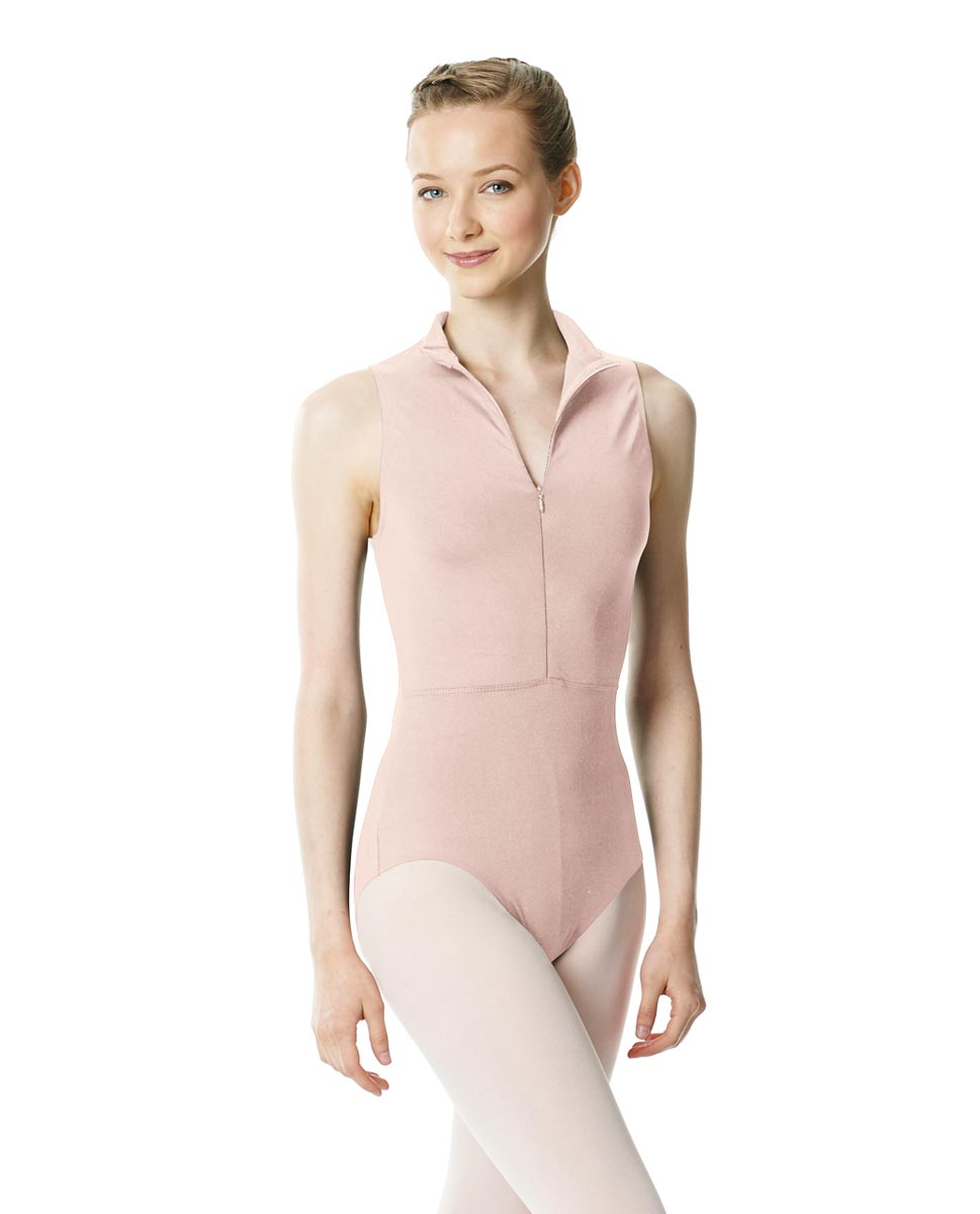 Womens Turtleneck Front Zipper Dance Leotard Leah LPNK