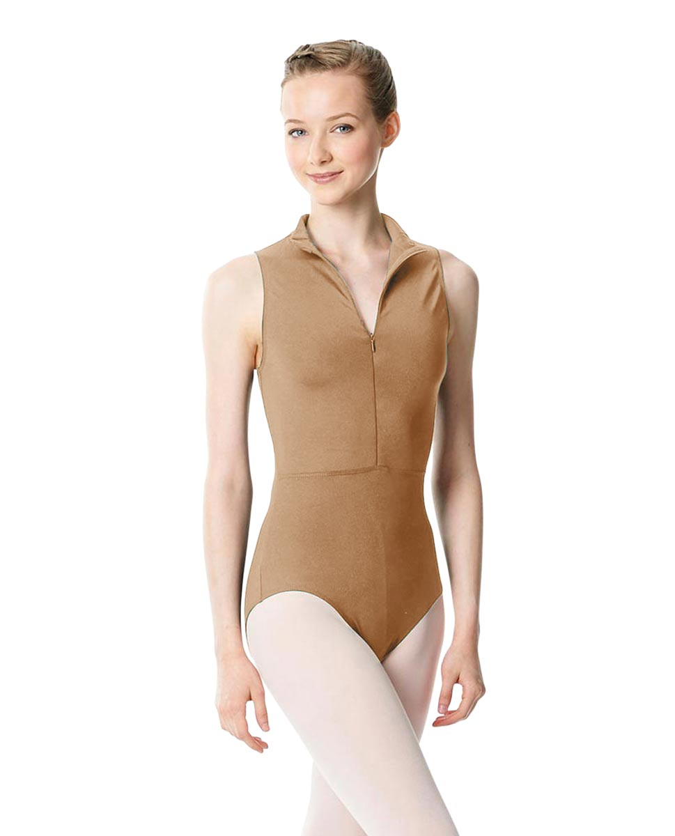 Womens Turtleneck Front Zipper Dance Leotard Leah NUD