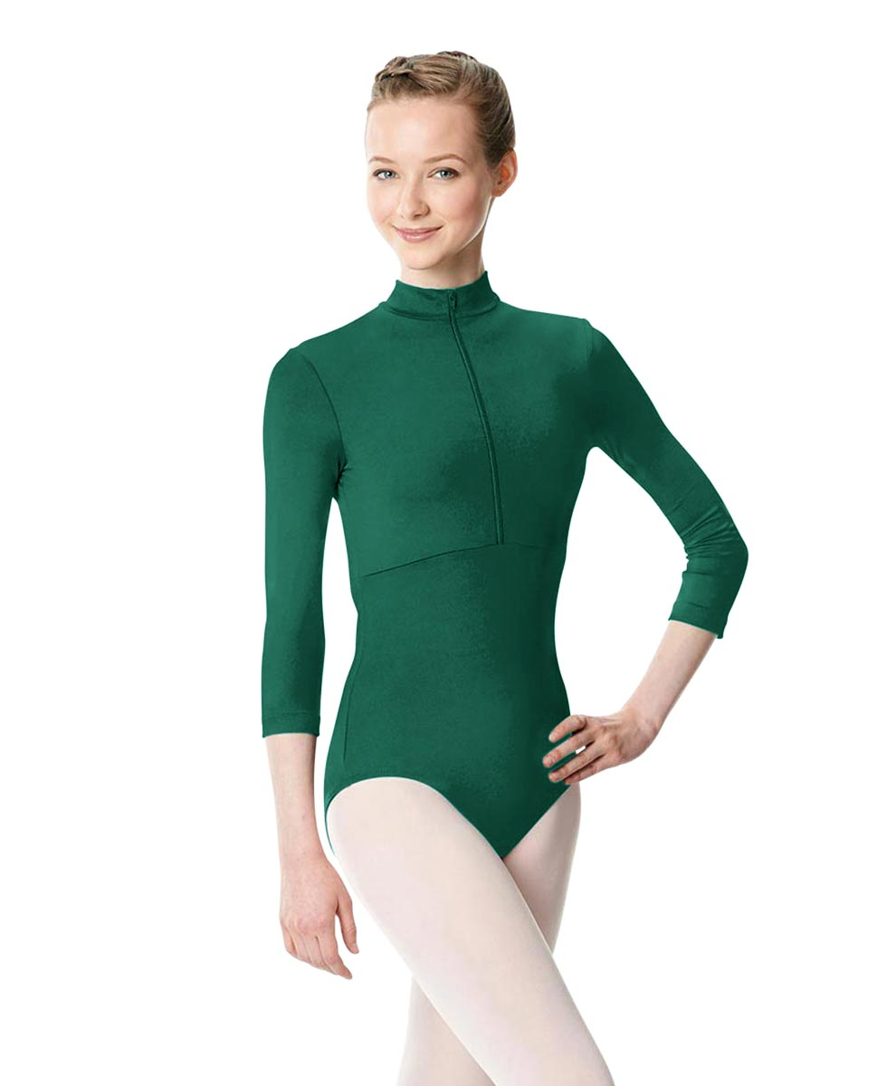 Long Sleeve Zipper Dance Leotard Eliana DGREEN