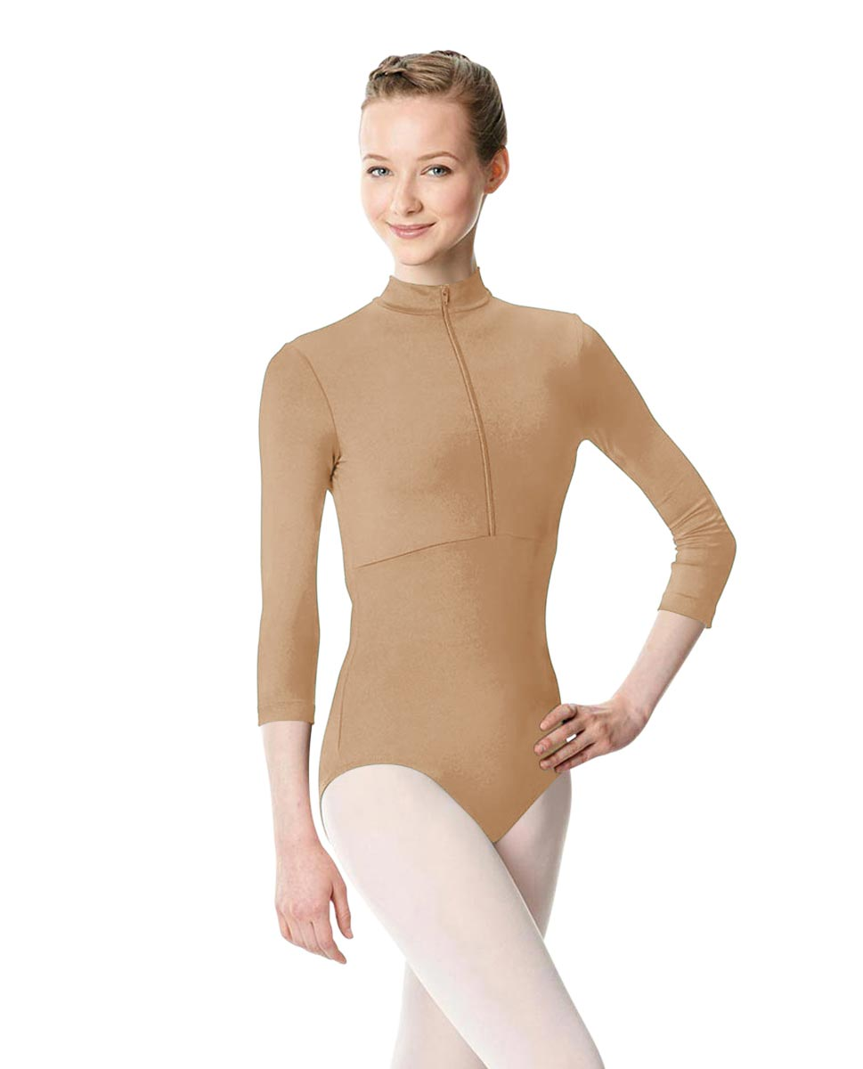 Long Sleeve Zipper Dance Leotard Eliana NUD