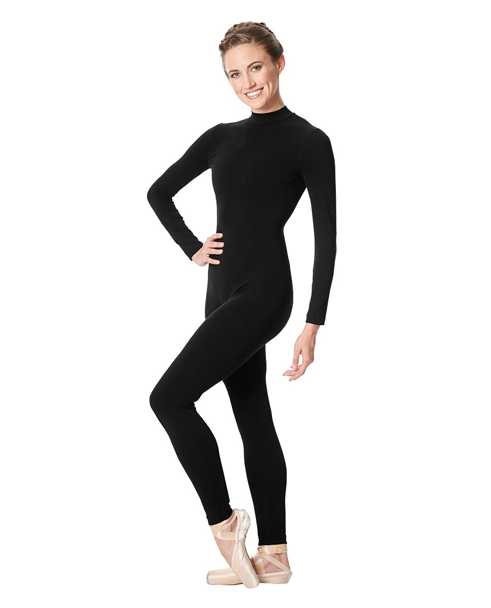 Adult Long Sleeve Mock Neck Dance Unitard Annabelle BLK
