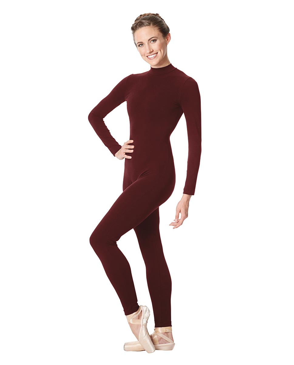 Adult Long Sleeve Mock Neck Dance Unitard Annabelle BUR