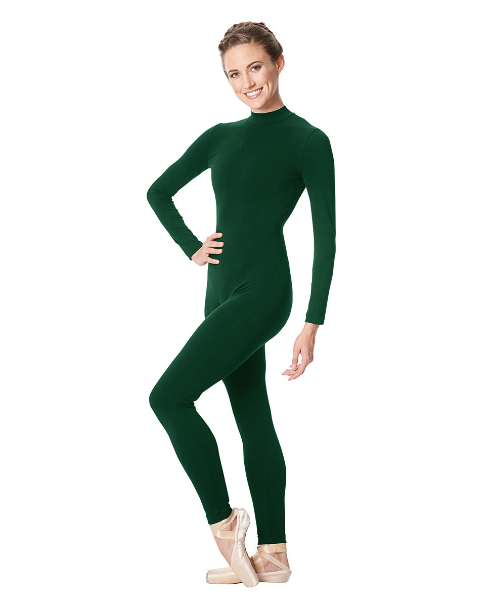 Adult Long Sleeve Mock Neck Dance Unitard Annabelle DGREEN
