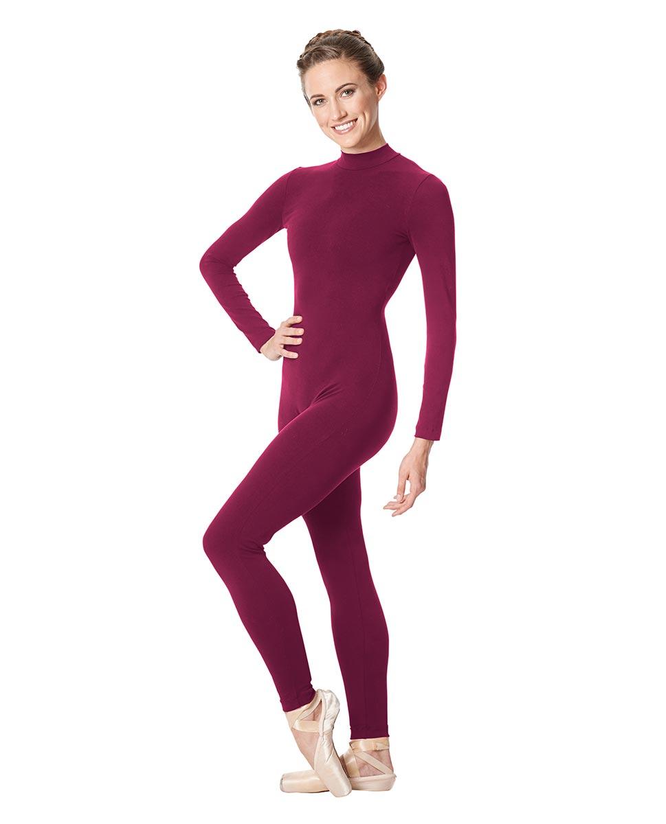 Adult Long Sleeve Mock Neck Dance Unitard Annabelle WINE