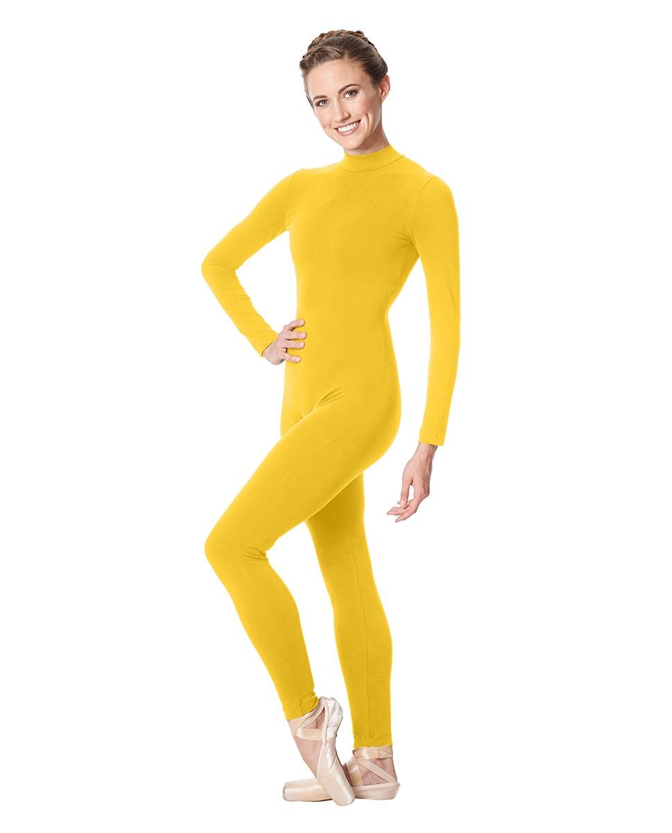 Adult Long Sleeve Mock Neck Dance Unitard Annabelle YEL