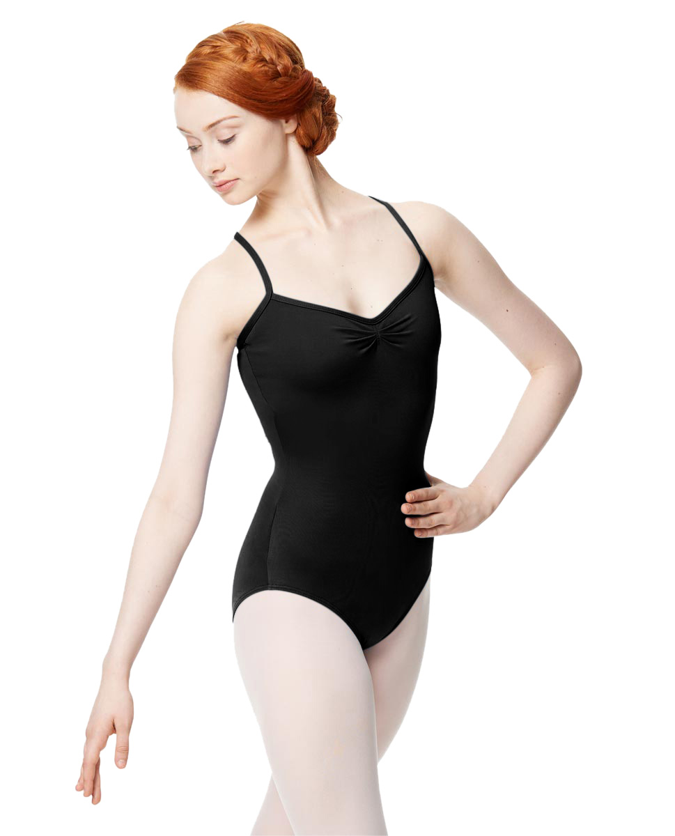 Adult Microfiber Pinched Front Camisole Leotard Alair BLK