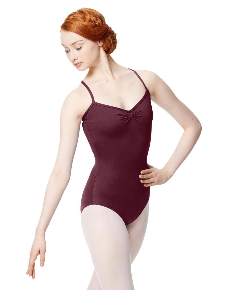 Adult Microfiber Pinched Front Camisole Leotard Alair WINE