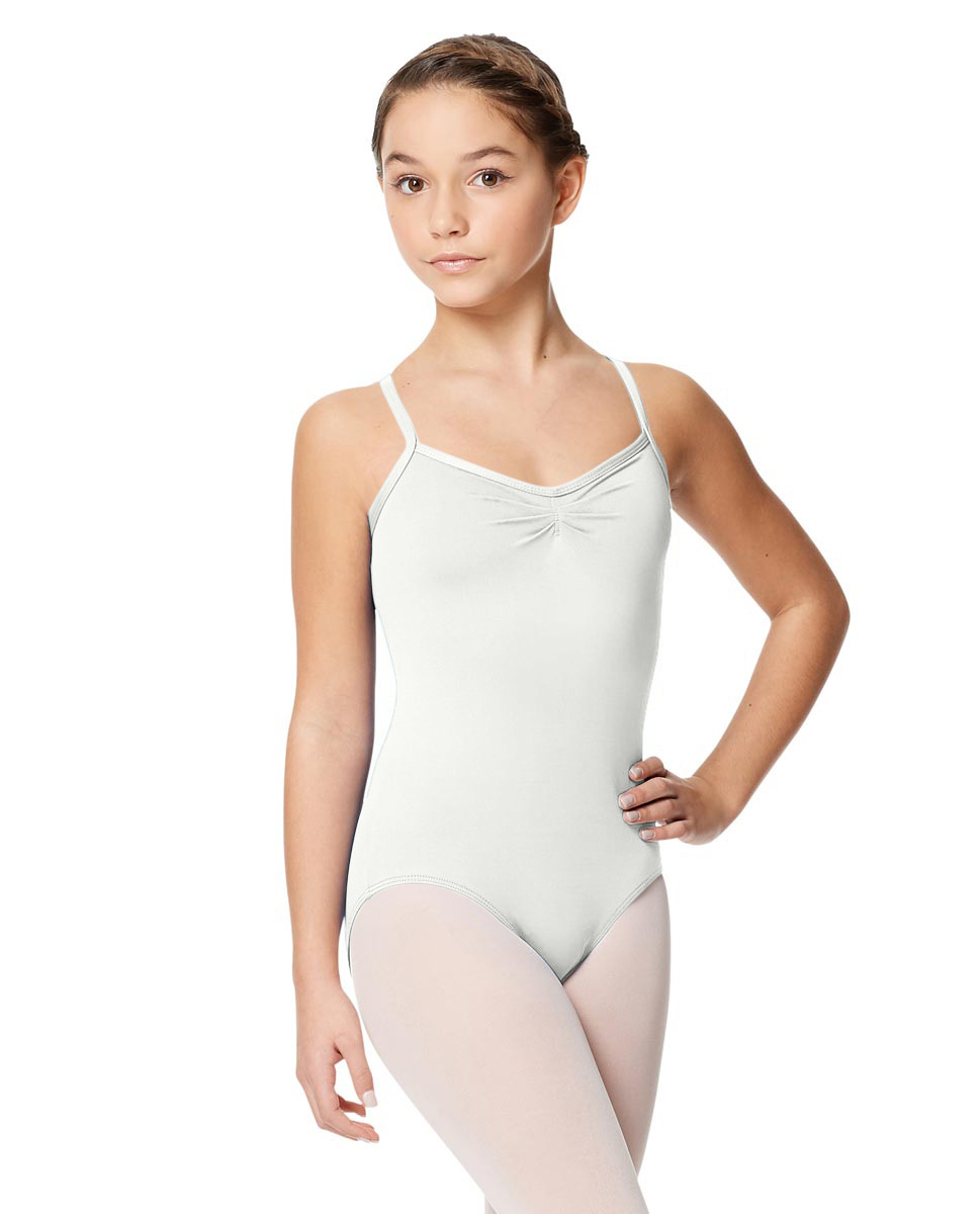 Child Microfiber Pinched Front Camisole Leotard Alair WHI