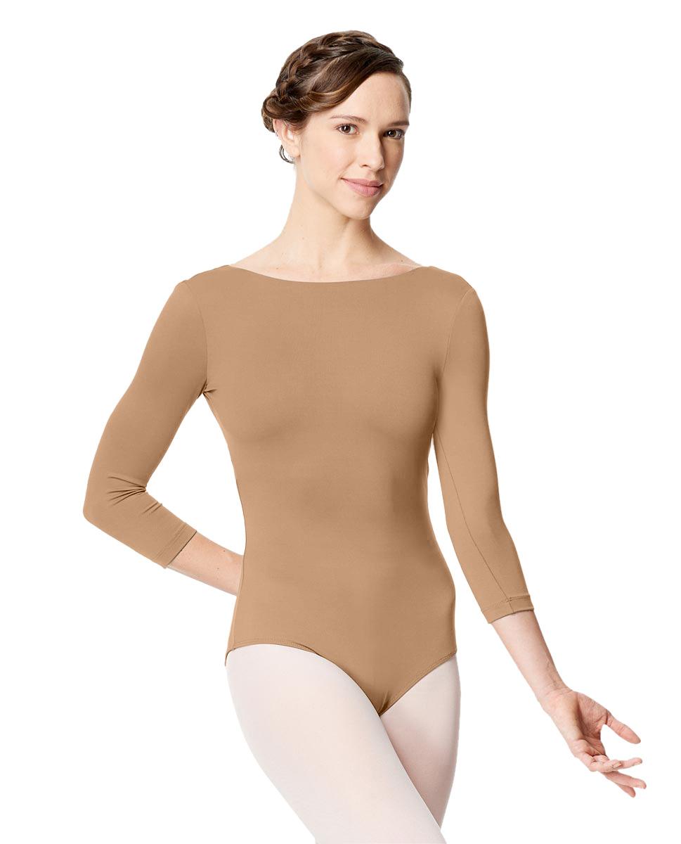 Adult Microfiber Low Back Long Sleeve Leotard Nanette NUD