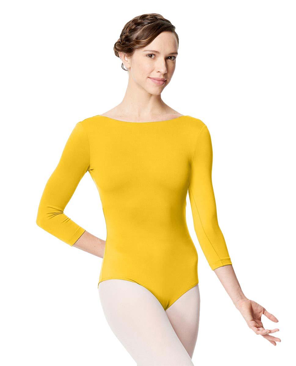 Adult Microfiber Low Back Long Sleeve Leotard Nanette YEL