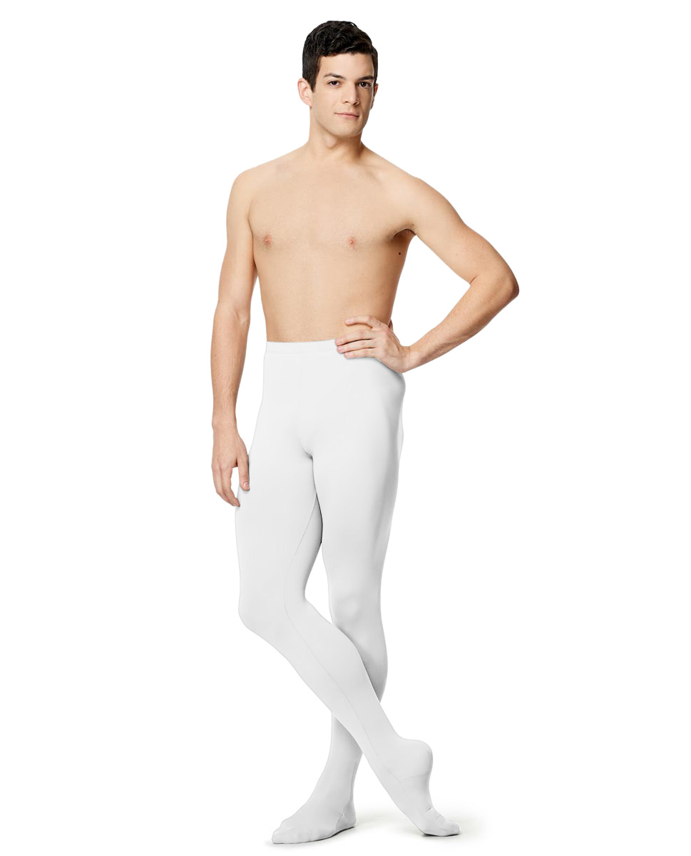 Mens Microfiber Footed Leggings Raphael WHI