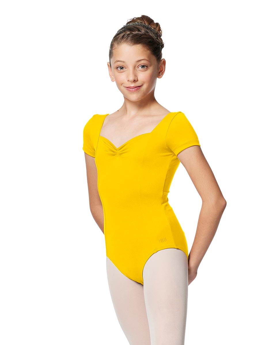 Girls Short Sleeves Ballet Leotard Anfisa YEL