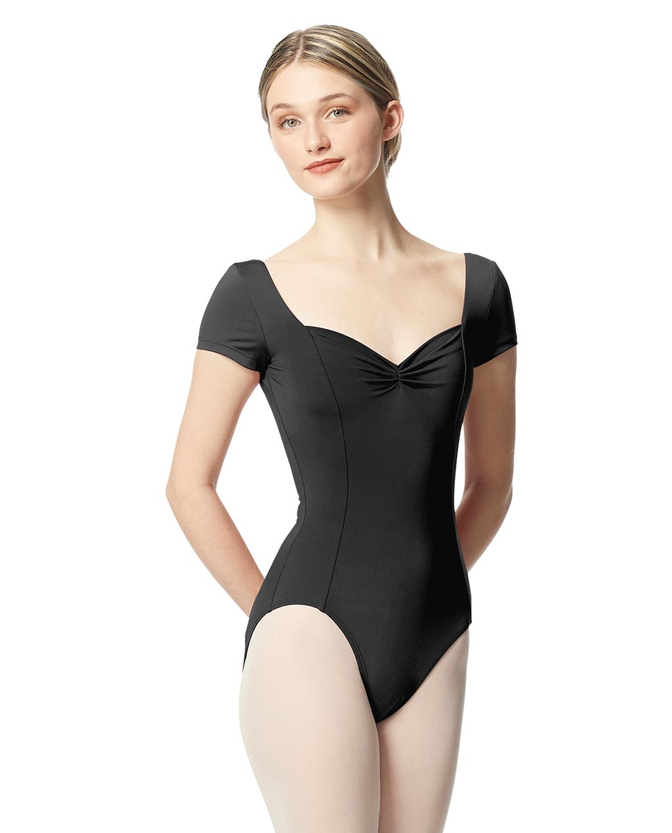 Woman Short Sleeves Leotard Gathered Front Anfisa DGRE