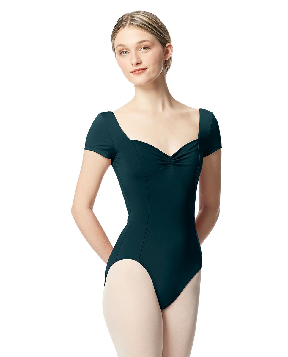 Woman Short Sleeves Leotard Gathered Front Anfisa DTEAL
