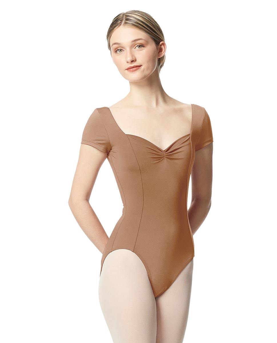 Woman Short Sleeves Leotard Gathered Front Anfisa NUD
