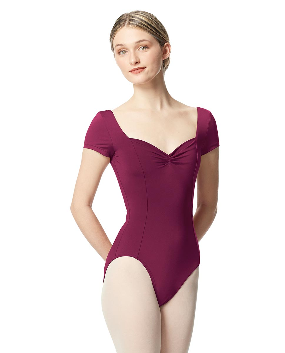 Woman Short Sleeves Leotard Gathered Front Anfisa WINE