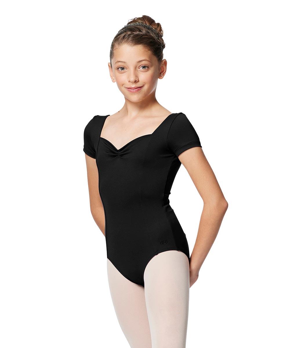 Girls Short Sleeves Ballet Leotard Anfisa BLK