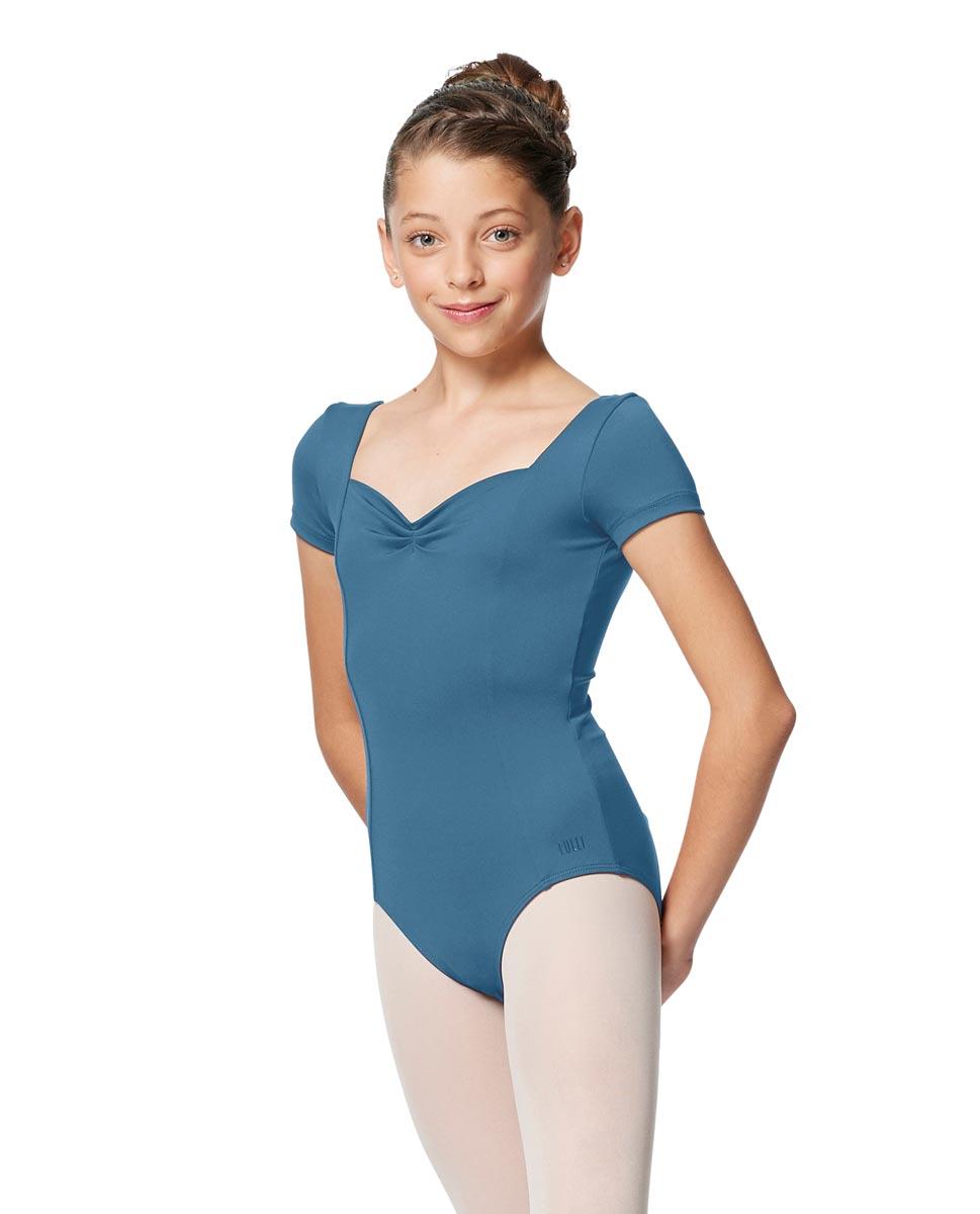 Girls Short Sleeves Ballet Leotard Anfisa BLUE