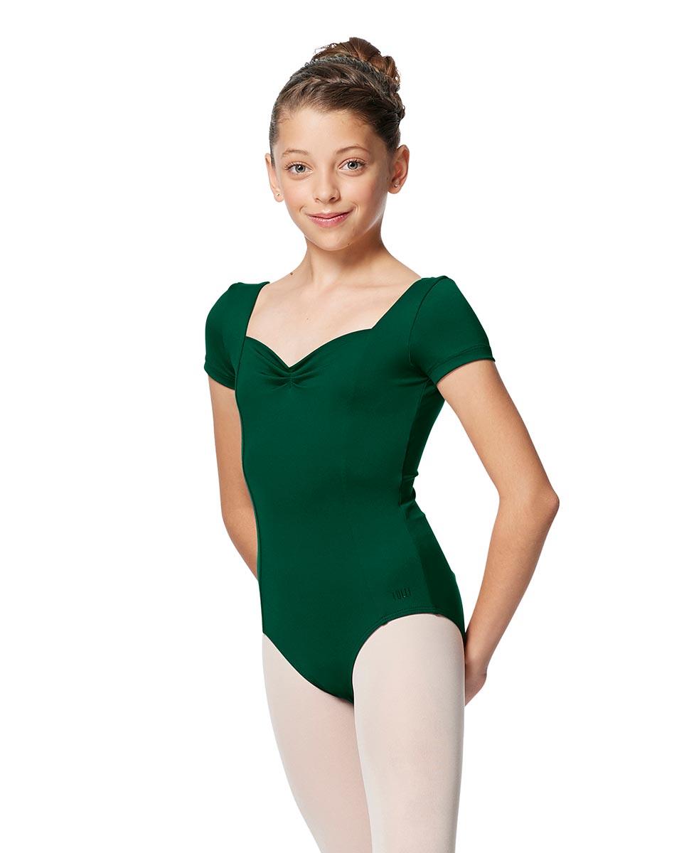 Girls Short Sleeves Ballet Leotard Anfisa DGREEN