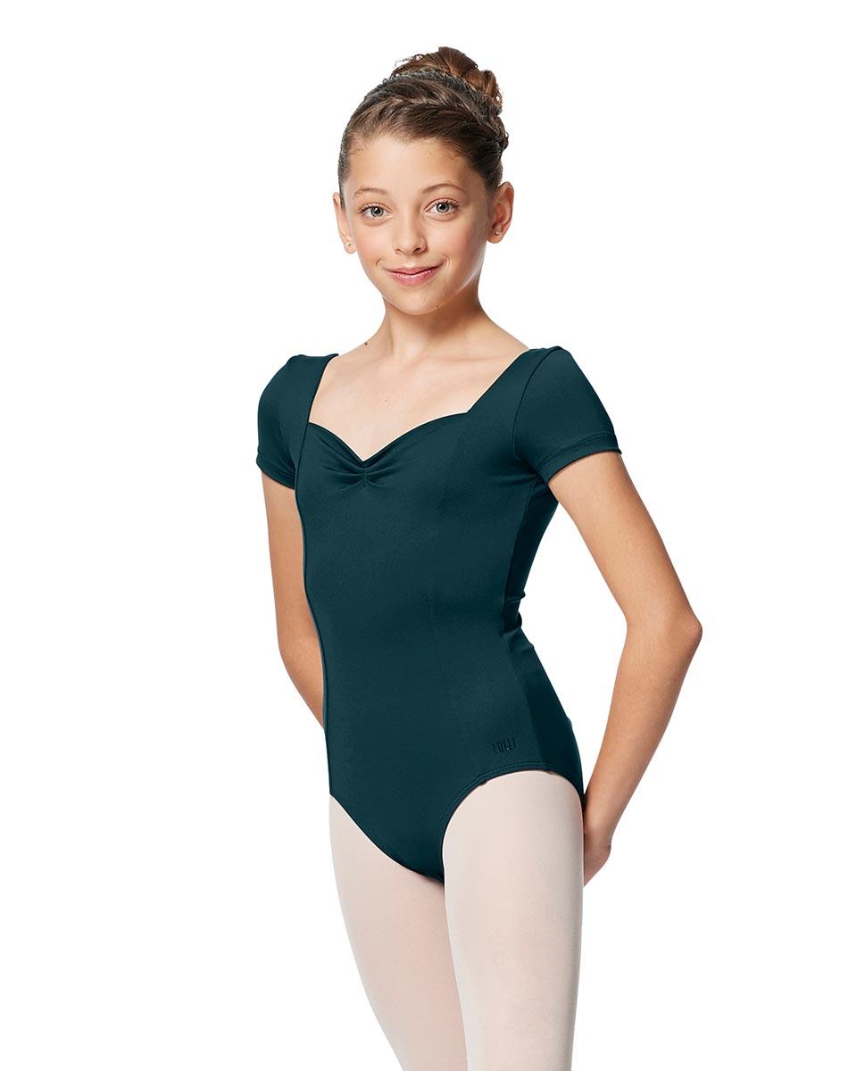 Girls Short Sleeves Ballet Leotard Anfisa DTEAL