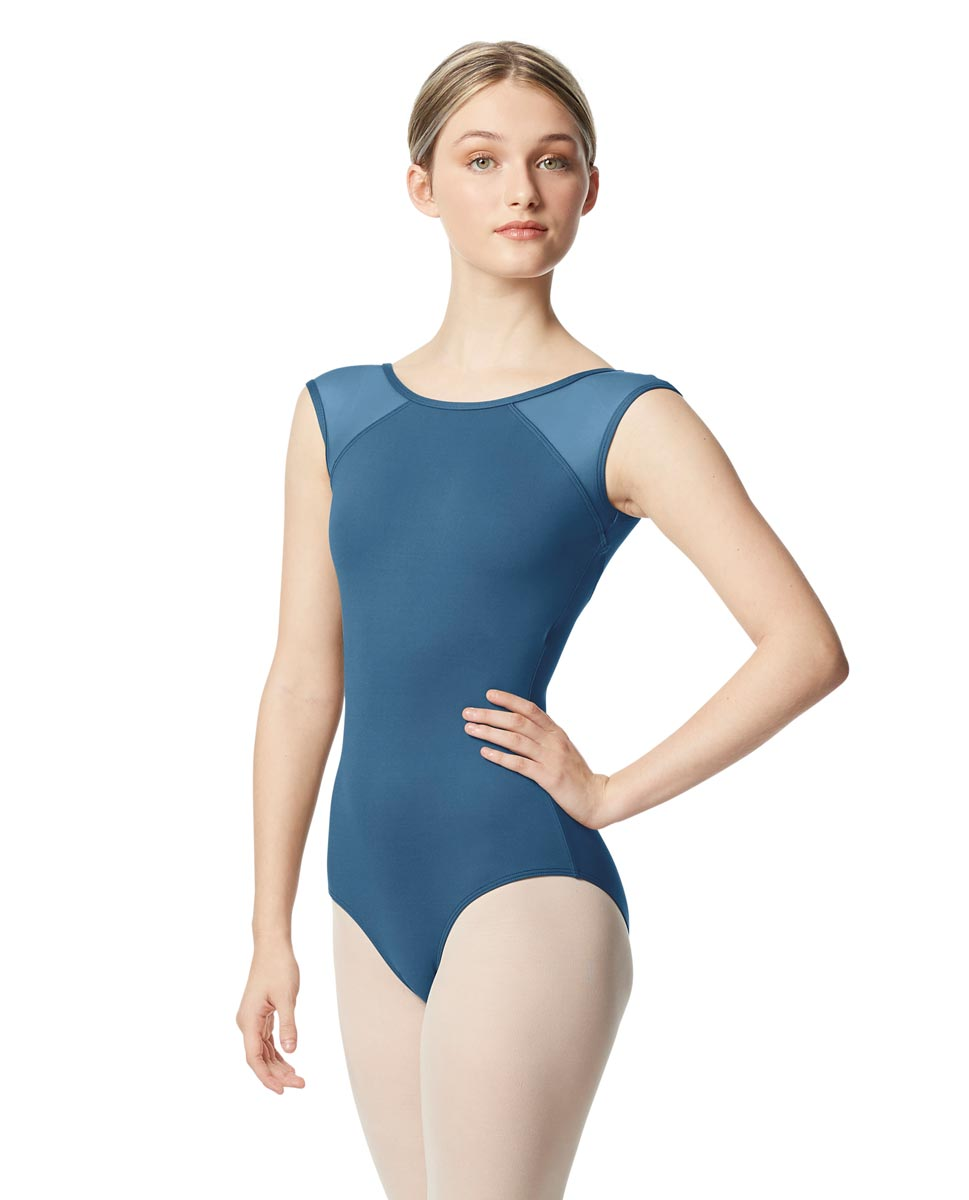 Mesh Cap Sleeve Leotard Nikita  BLUE