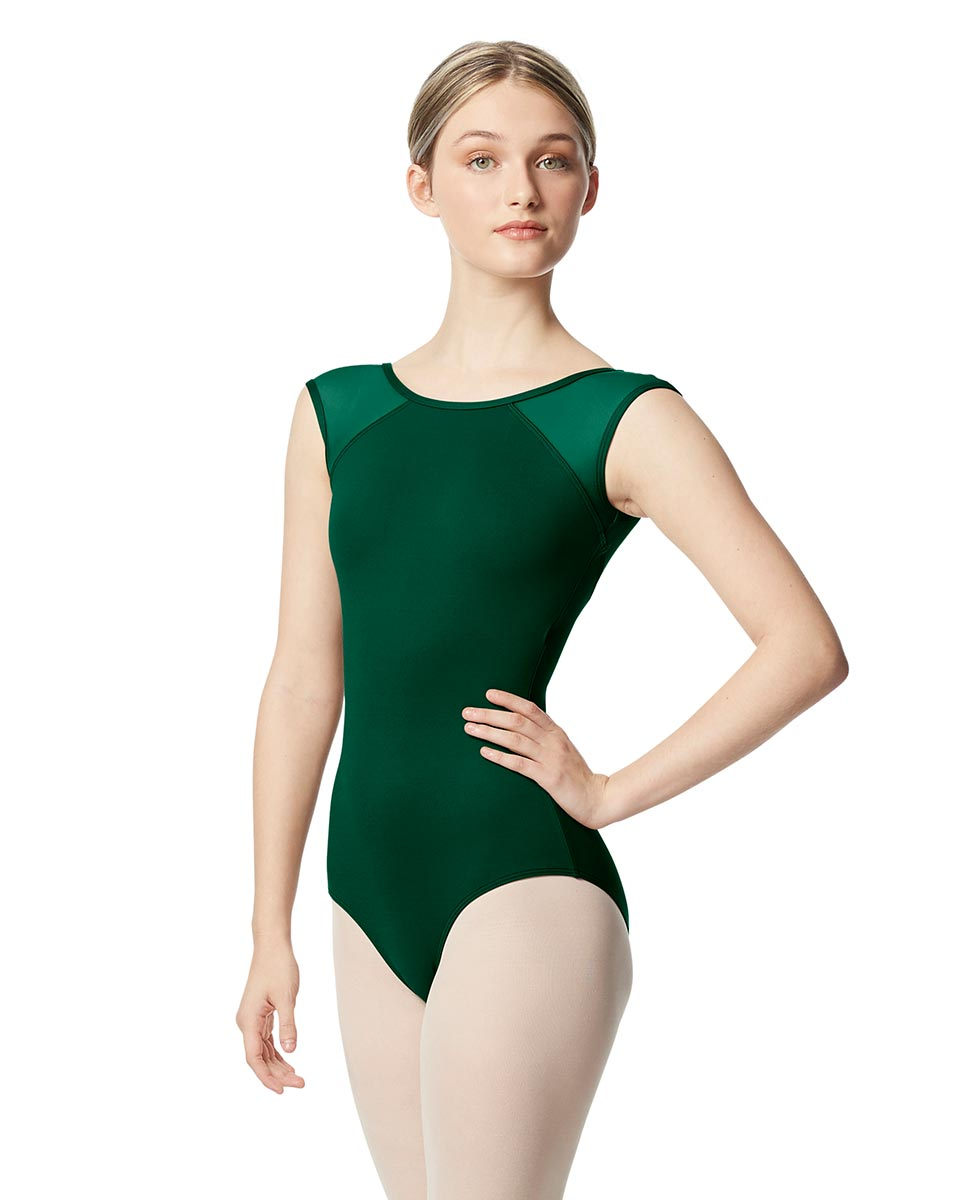 Mesh Cap Sleeve Leotard Nikita  DGREEN
