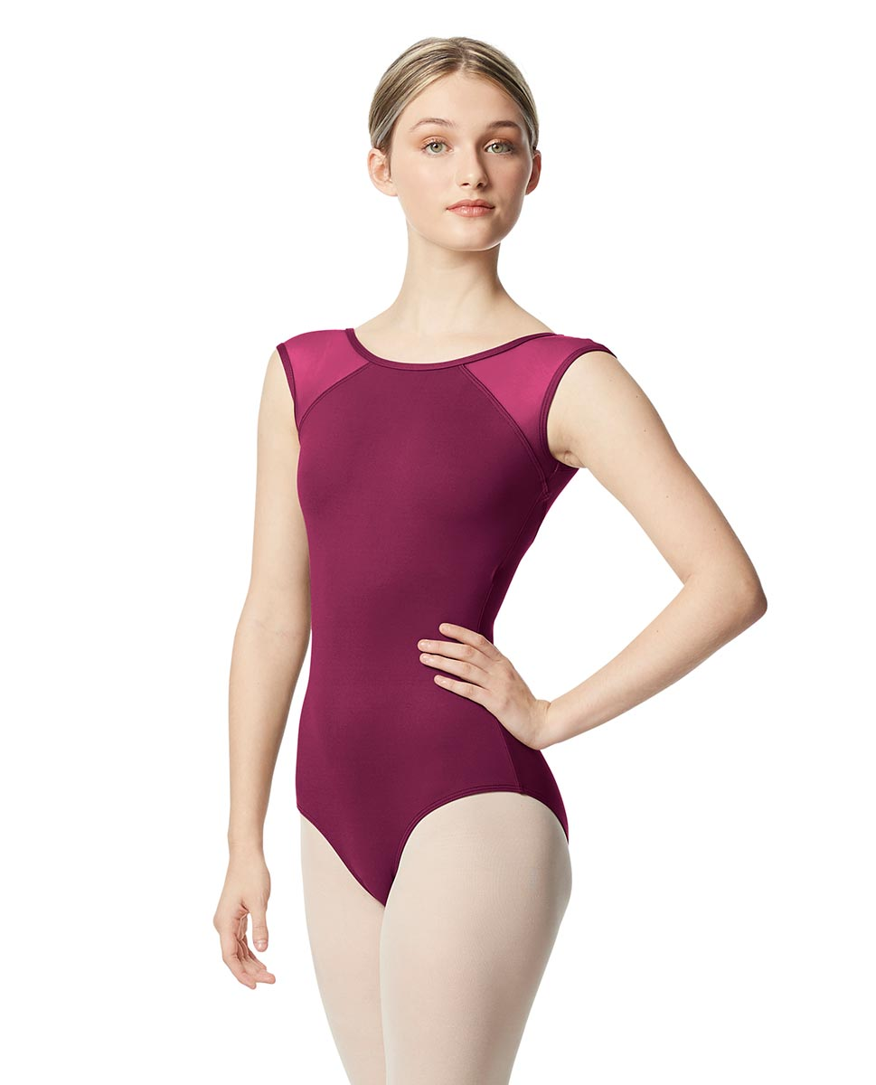 Mesh Cap Sleeve Leotard Nikita  WINE