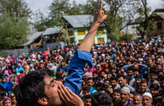 Hundreds Of Mourners Attend The Funeral Of Slain Rebel In Kashmir