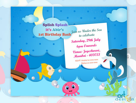 Pool Party Birthday E Invitation Card