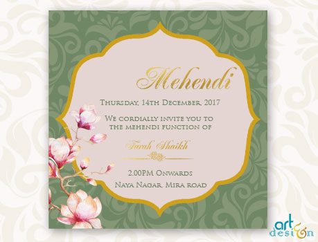 Mehndi Function E Invitation Card